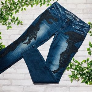 Express lace skinny jeans